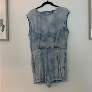 RVCA Sleeveless Acid Wash Denim Romper